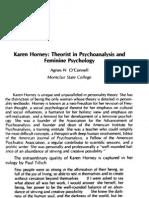 Karen Horney Theorist in Psychoanalysis and Feminine Psychlogy