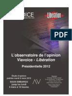 Viavoice Libération. Mars 2012