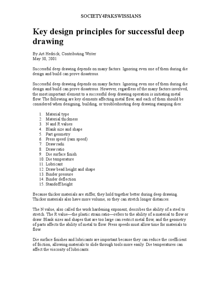 Key Design Principles For Successful Deep Drawing