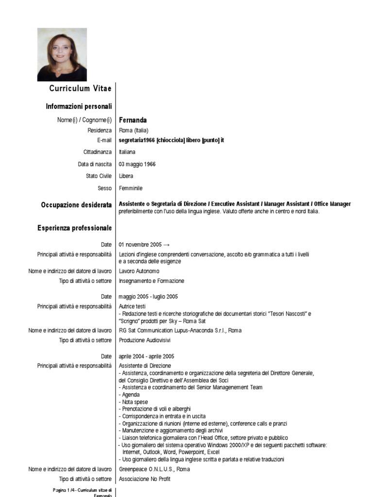 curriculum vitae segretaria roma