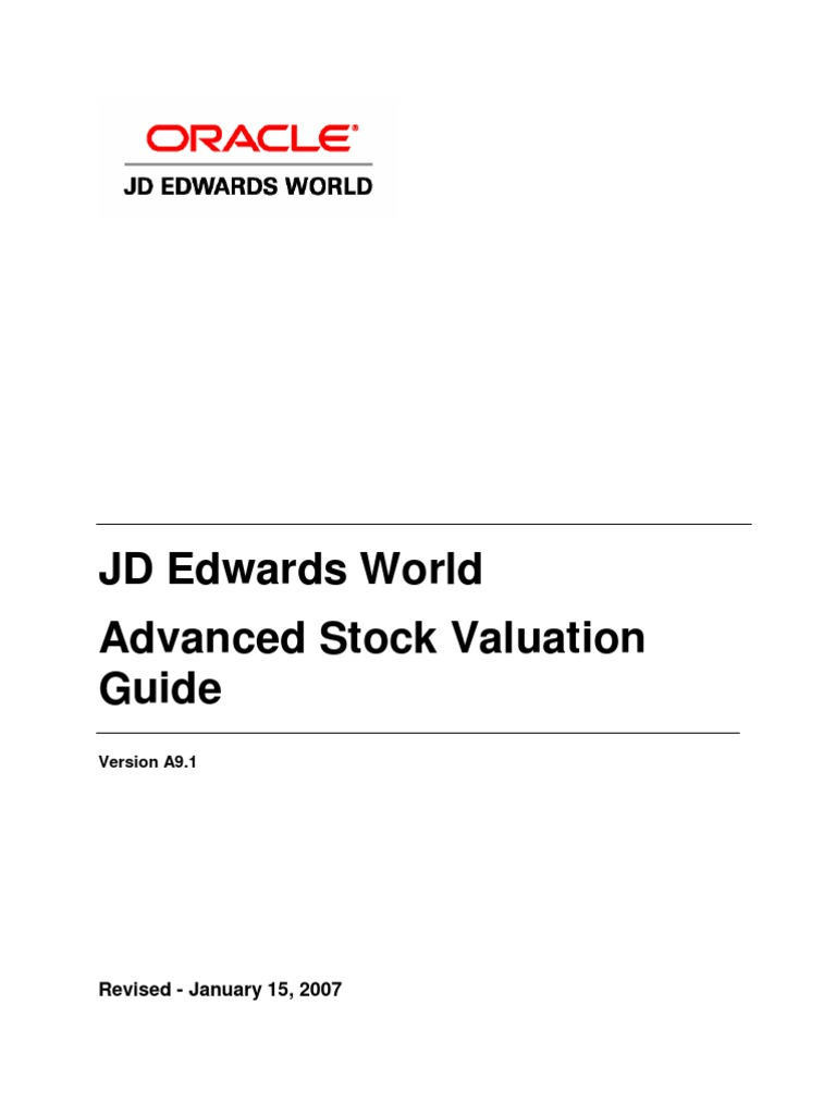 jd edwards world advanced stock valuation a91 guide inventory rh scribd com Oracle JDE Oracle JDE