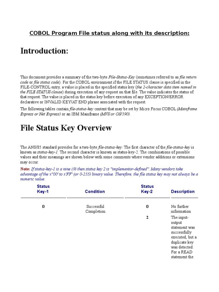 File Return Code Status | File System | Computer File