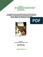 VALIDACIÓN DE UN ECO-HORNO PARA LA PRODUCCION DE ALFARERIA Y EVALUACION DE SU EFICIENCIA EN CUANTO AL USO DE LEÑA EN EL MUNICIPIO DE OJOJONA, DEPARTAMENTO DE FRANCISCO MORAZÁN