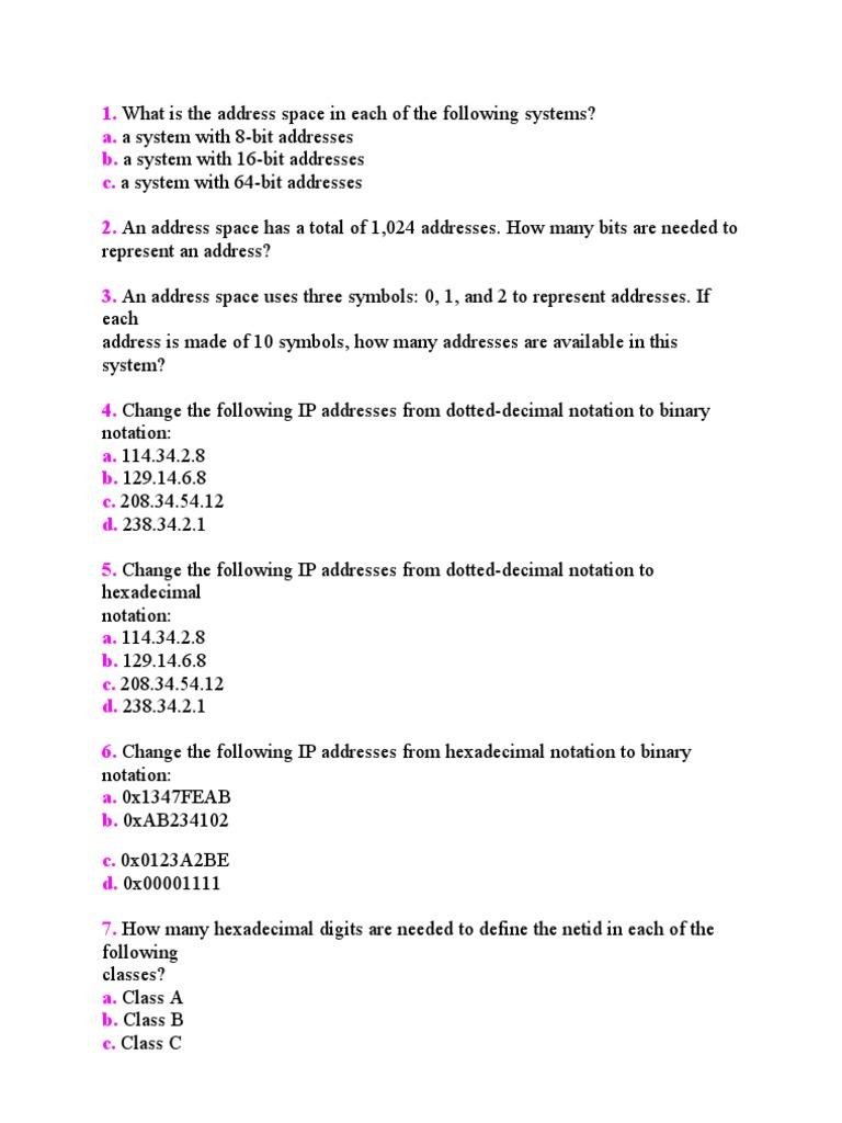 11848_Ip Addressing Exercise | Ip Address | Network Protocols