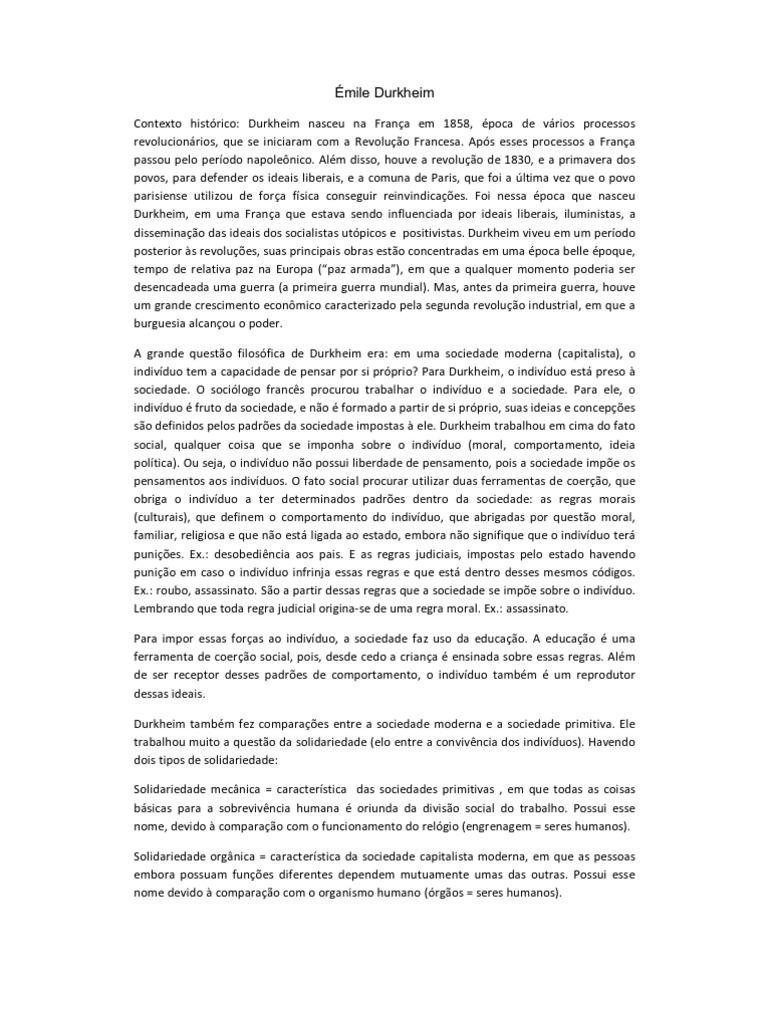 Émile Durkheim _ Resumo