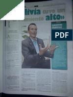 Reporte a Jaime Elkin, EL DEBER, 6 de Marzo 2012, Bolivia