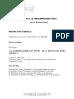 Avis de Presentation de These Doctorat Science politique Sildillia