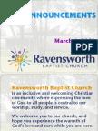 Ravensworth Baptist Church Announcements, 3/4/12