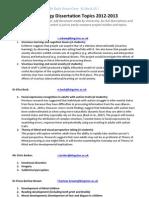 Psychology Dissertation Topics 2012