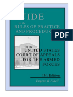 Guide to the rules of practice and procedure of the United States Court of Military Appeals.