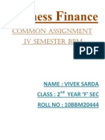 Business Finance Common Assignment IV Semester Bbm