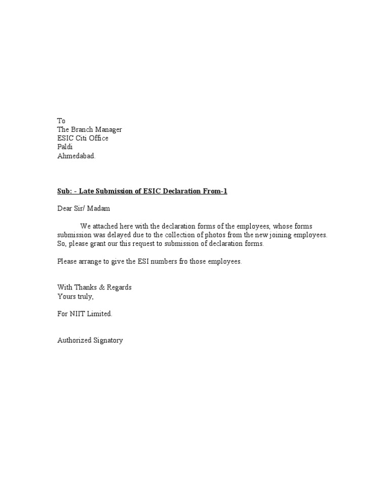Document Submission Letter Format