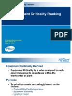Equipment Criticality Ranking