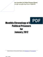 Monthly Chronology of Burma Political Prisoners for January 2012