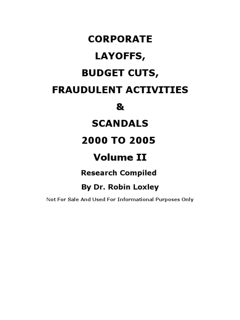 Corporate Layoffs Lists 2000 to 2005 Volume II   Current
