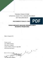 2010 - giugno 25 - Perizia mediante INDAGINE EPIDEMIOLOGICA - Incidente probatorio c/o Tribunale penale di Roma