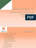 Procurement Oracle R12 Invoice AP Adjustment