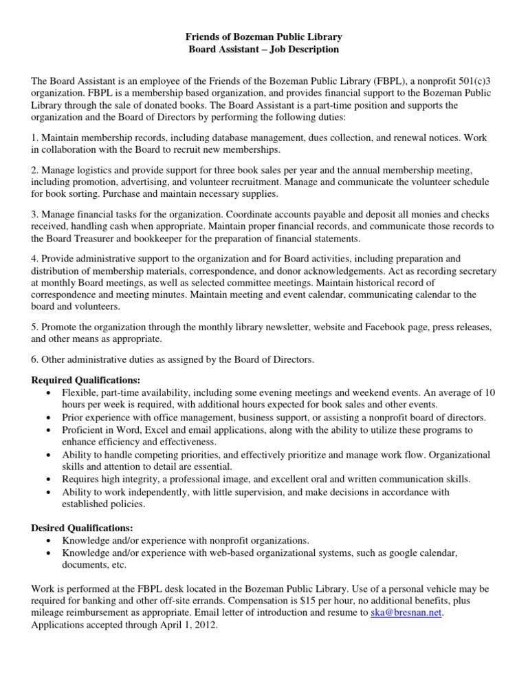 FBPL Board Assistant Job Description | Board Of Directors