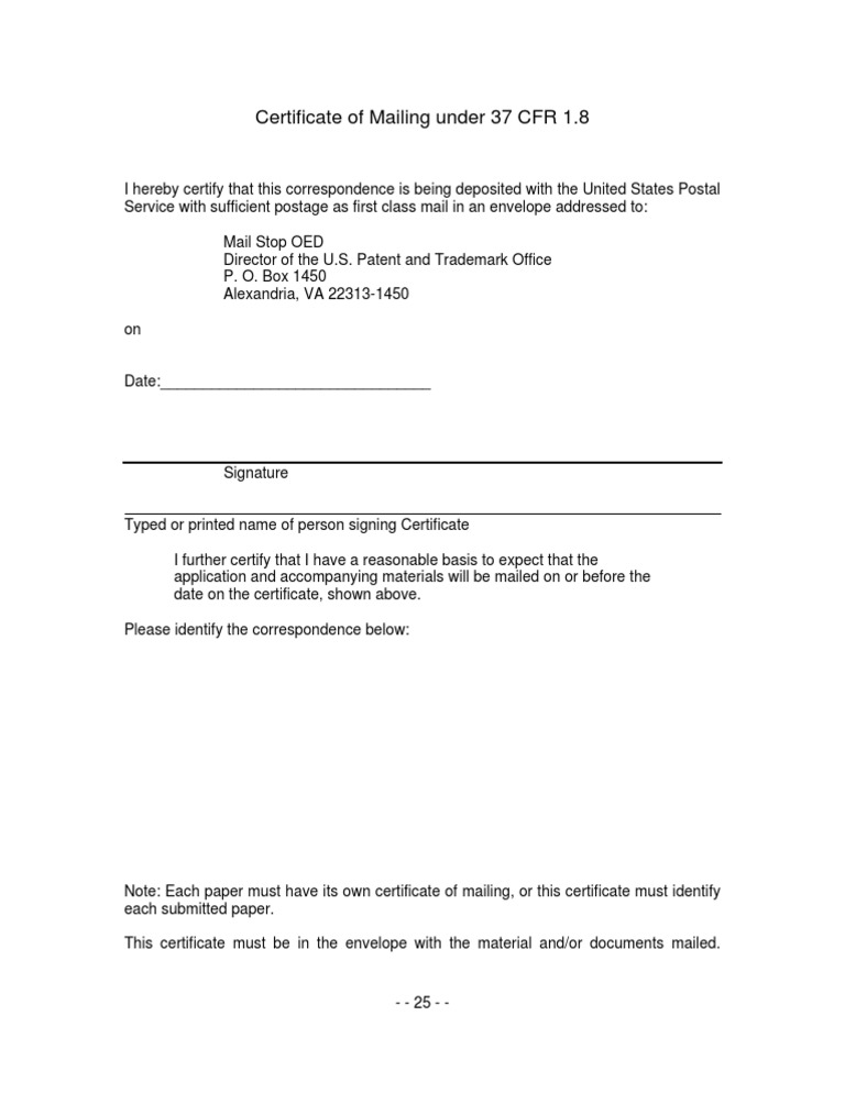 certificate mailing uspto patent states united postal document