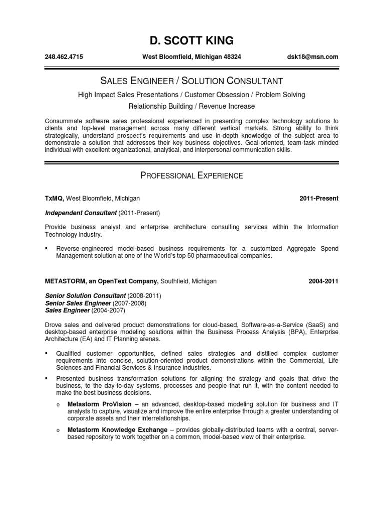Senior Pre - Sales Engineer in Detroit MI Remote Resume D