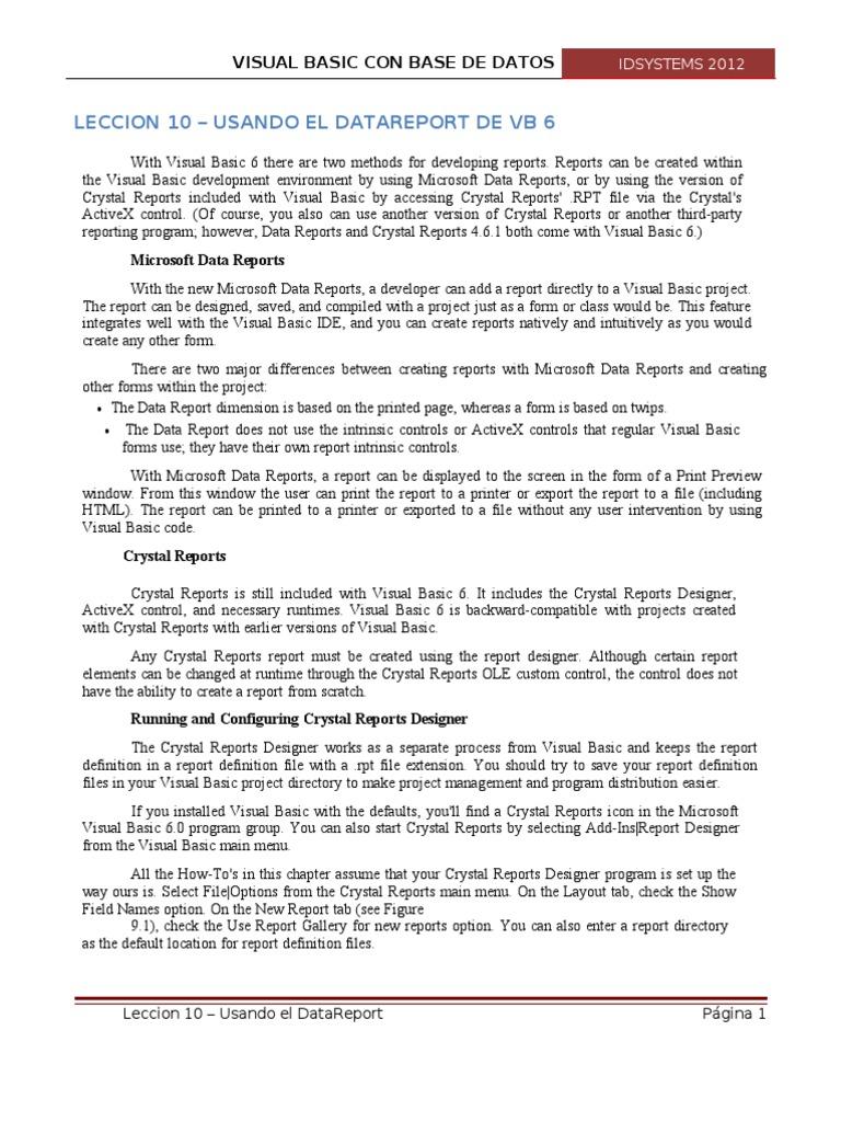 Leccion 10 - Usando El Data Report | Basic | Computer