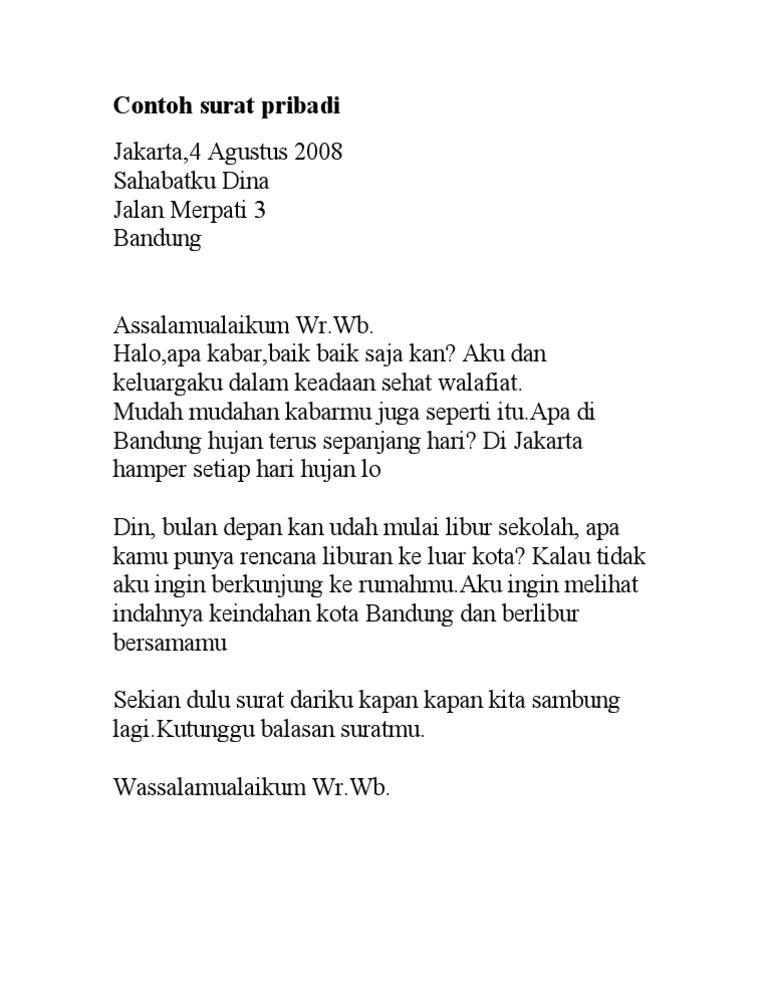 Contoh Surat Pribadi Nusagates