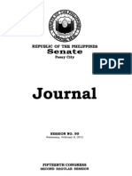 Senate Journal Session Proceedings – 15th Congress Second Regular Session (February 8 2012)