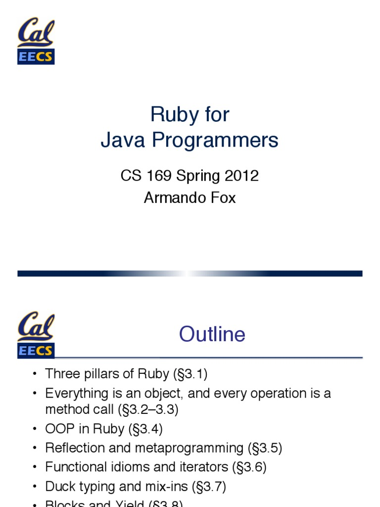 Slides Chapter 3 Part 1 Ruby for Java Programmers | Ruby