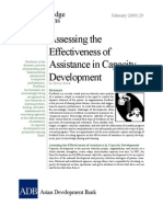 Assessing the Effectiveness of Assistance in Capacity Development