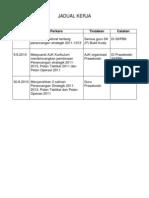 JADUAL KERJA Pelan Strategik 2011-2013