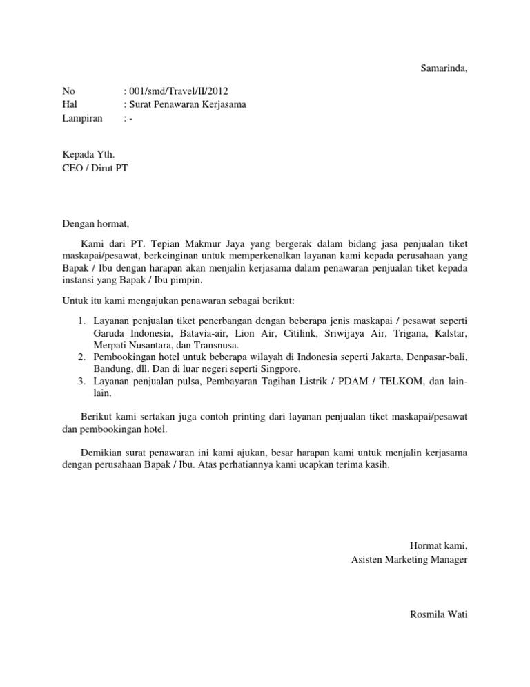 Contoh Surat Proposal Penawaran Produk
