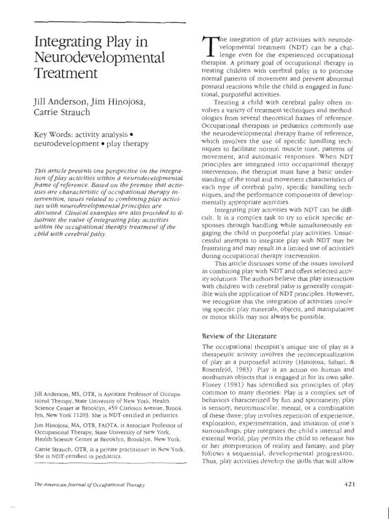 Integrating Play in Neurodevelopmental Treatment | Occupational ...
