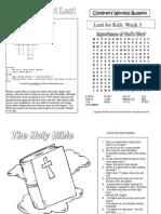"Lent Week 3 ""Importance of God's Word"" Kid's Bulletin"