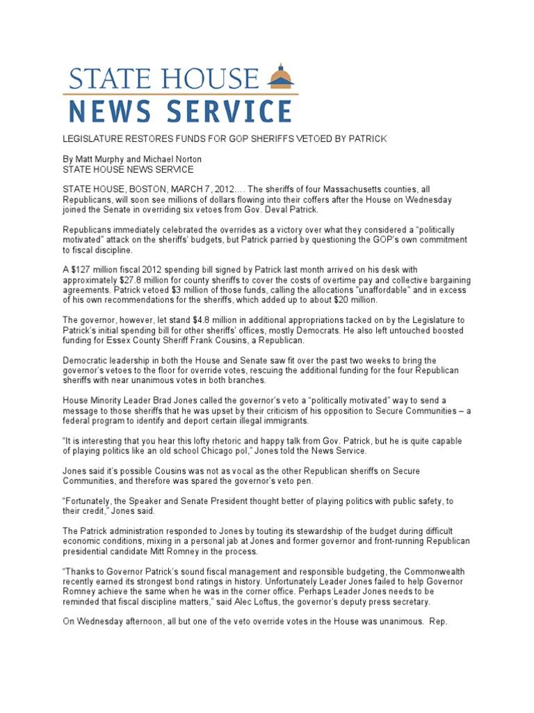 Legislature Restores Funds For Gop Sheriffs Vetoed By Patrick