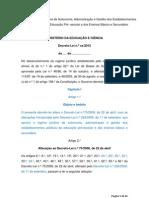 Regime de Gestao Escolar - Terceira versão da proposta do MEC
