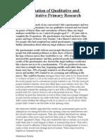 Evaluation of Qualitative and Quantitative Primary Research