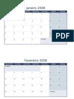 Calendário de 2008 em várias planilhas1