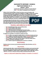 Massachusetts Defense Bulletin No. 1, March 7, 2012