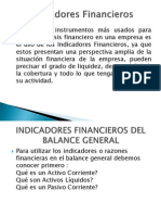 Indicadores o Razones Financier As