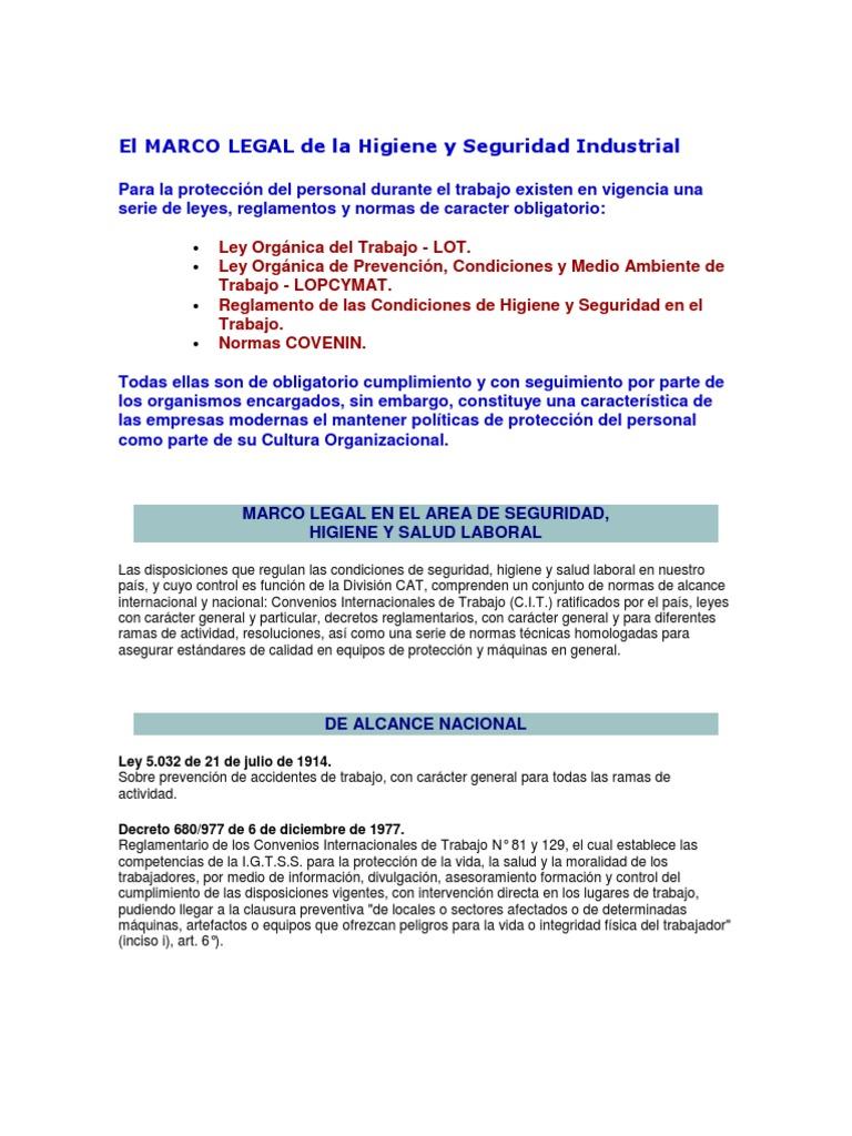 El MARCO LEGAL de La Higiene y Seguridad Industrial