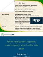 Recent developments in genetic resources policy