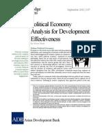 Political Economy Analysis for Development Effectiveness