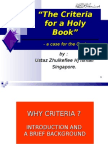 """CRITERIA for a Holy Book - Case for Al-Qur'an"""