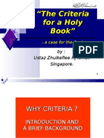 """""""CRITERIA for a Holy Book - Case for Al-Qur'an"""""""