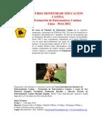 Curso Introduct Monitor Educación Canina