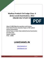 Madhya Pradesh Civil Judge Entry Level Exam 2012 Self Study Kit Solved Papers