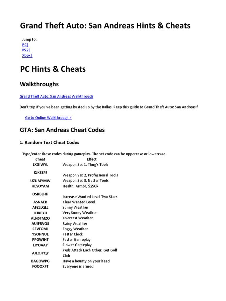 les codes de gta san andreas xbox