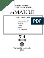 id Soal SIMAK UI 2011 - Kemampuan IPA Kode Soal 514 [Soal Asli]