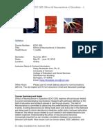 Ethics of Neuroscience in Educ - EDCI 200 OL3 - Course Syllabus