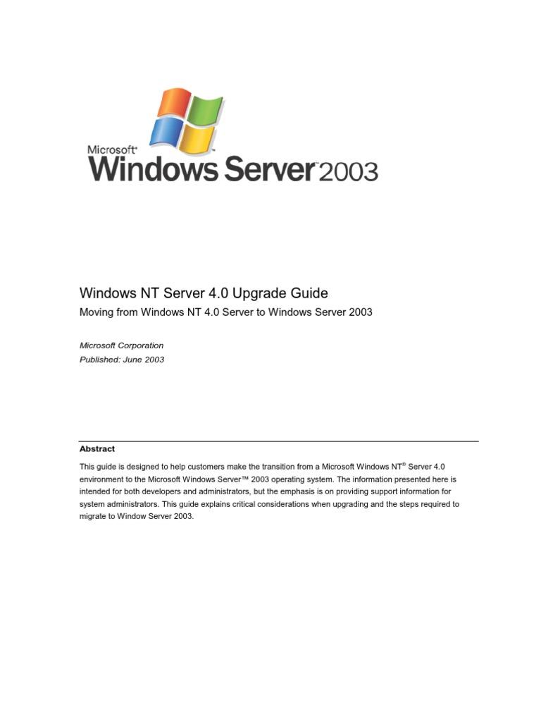 Windows NT Server Migrate Windows Server 2003   Windows